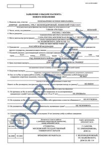образец заявления на биометрический загранпаспорт